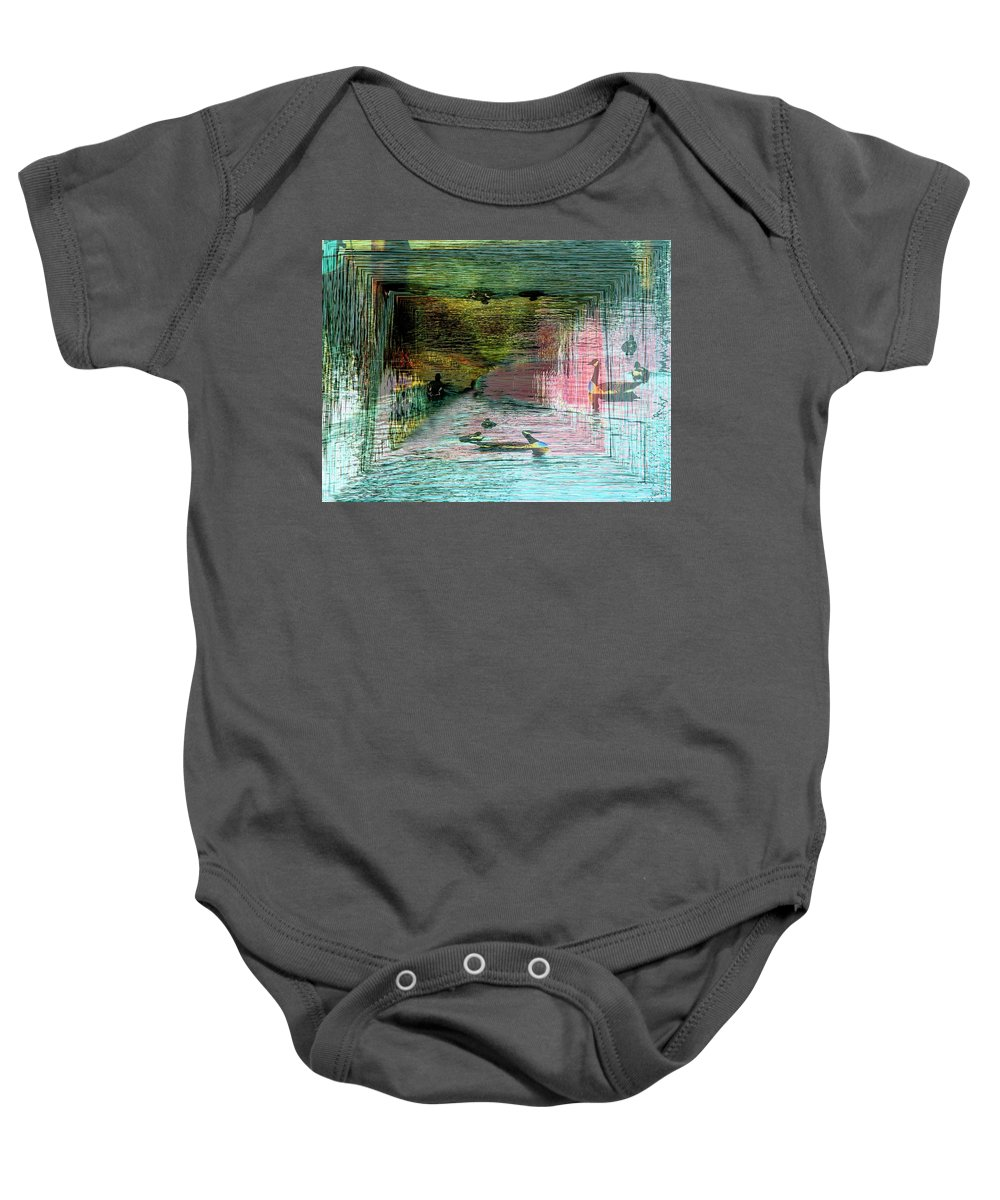 Geese Baby Onesie featuring the photograph Geese In The Vortex by Tim Allen