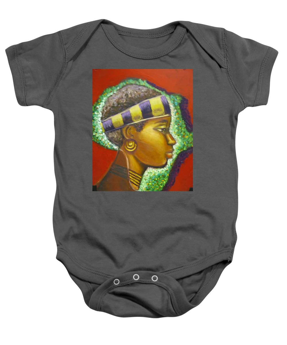 Gem Of Africa Baby Onesie featuring the painting Gem Of Africa by Jan Gilmore