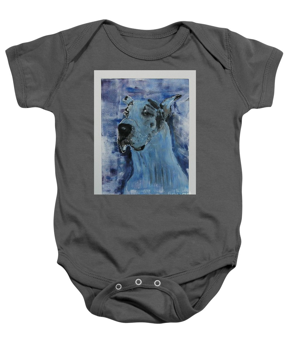 Great Dane Baby Onesie featuring the mixed media Gentle Giant by Cori Solomon