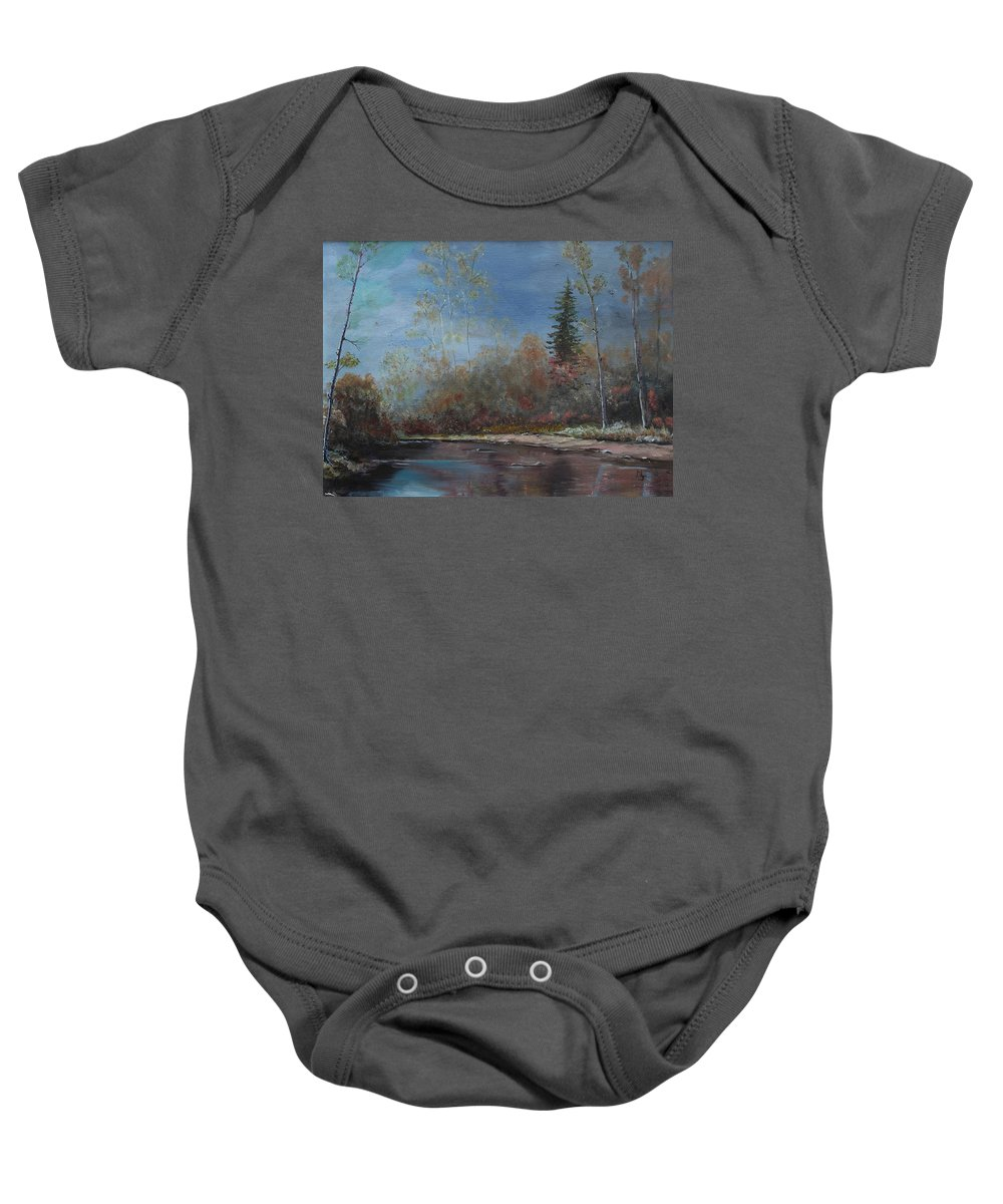 River Baby Onesie featuring the painting Gentle Stream - Lmj by Ruth Kamenev