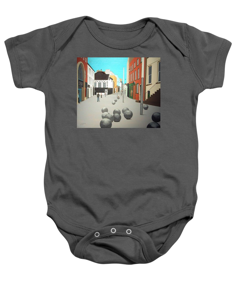 George's Street Baby Onesie featuring the painting George's Street, Waterford by Tony Gunning