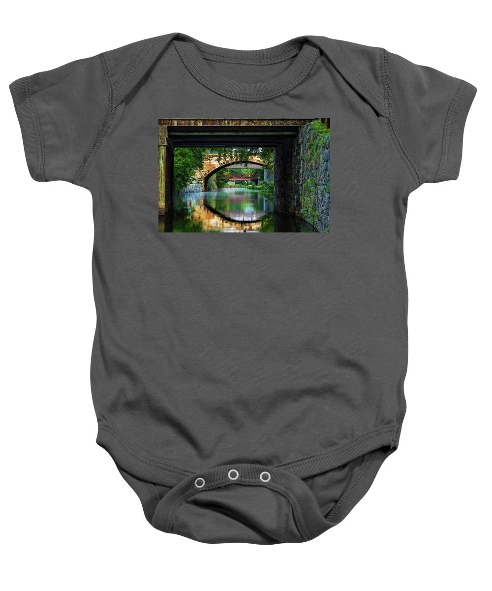 C & O Canal Baby Onesie featuring the photograph Georgetown Canal Bridges by Dave Lyons
