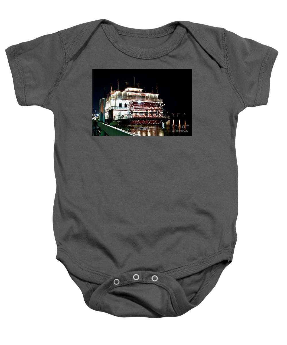 Boat Cruise Baby Onesie featuring the photograph Georgia Queen Riverboat On The Savannah Riverfront by Jeramey Lende