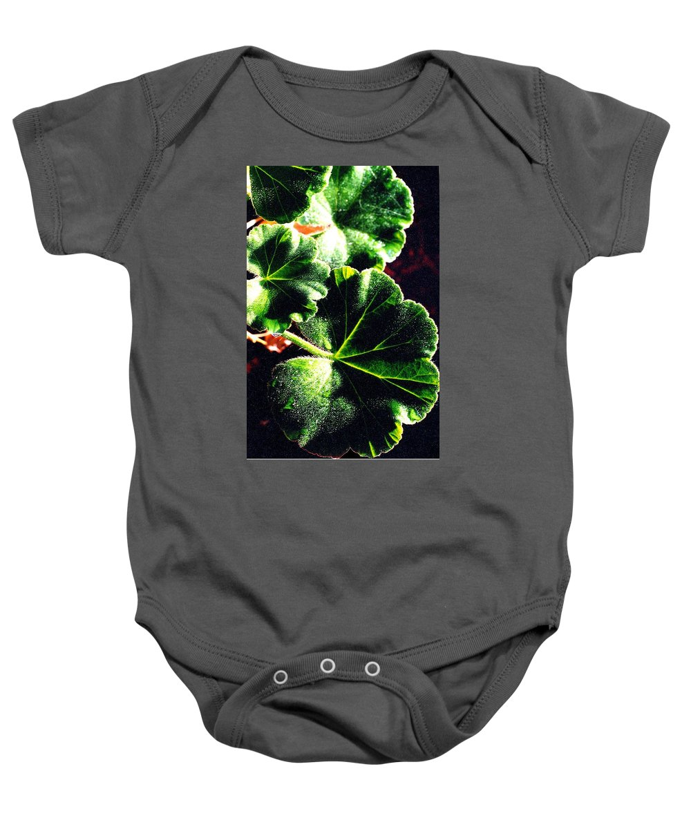 Geraniums Baby Onesie featuring the photograph Geranium Leaves by Nancy Mueller