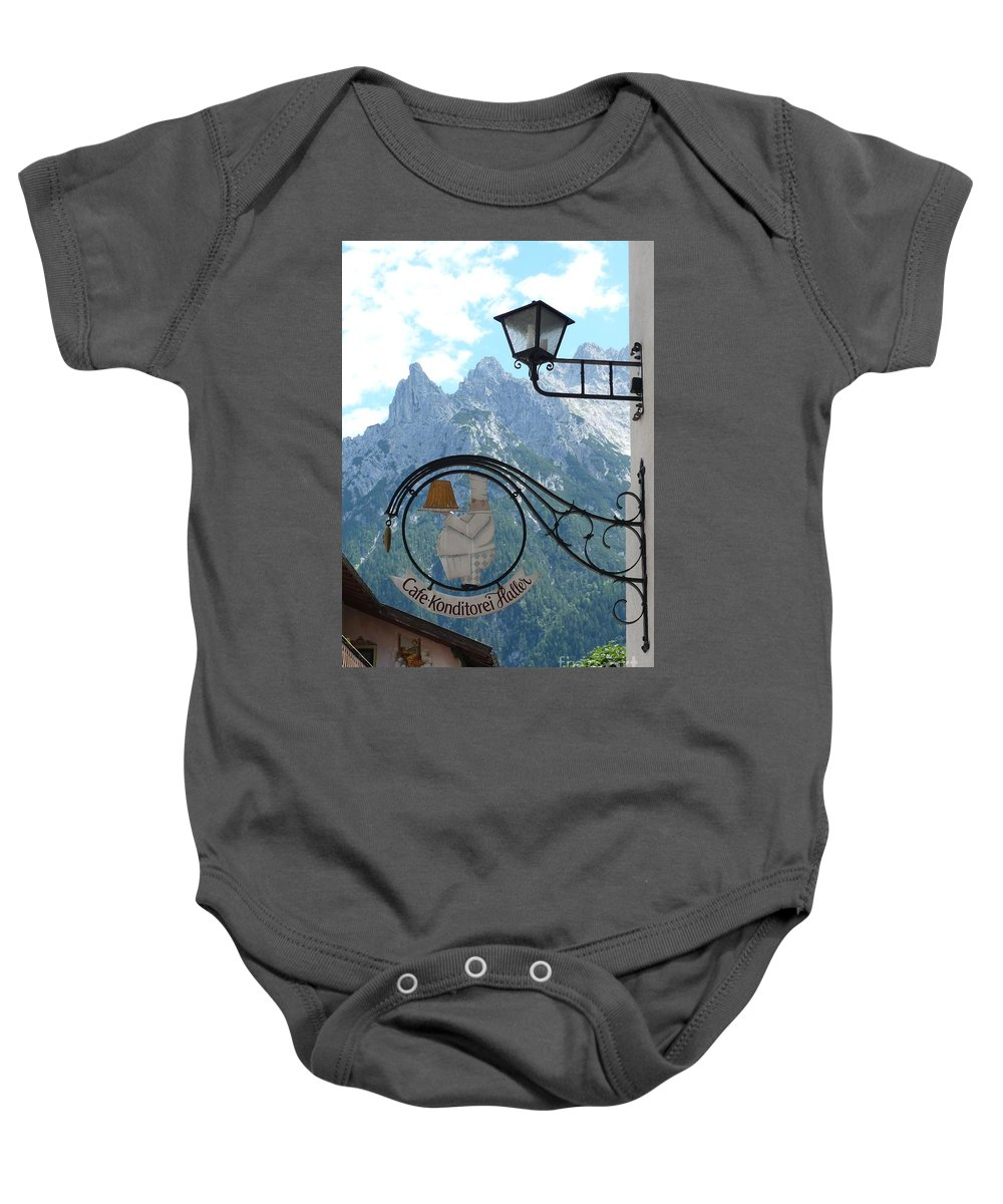 Bavarian Alps Baby Onesie featuring the photograph Germany - Cafe Sign by Carol Groenen