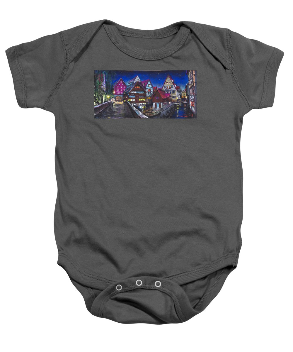 Pastel Baby Onesie featuring the painting Germany Ulm Fischer Viertel by Yuriy Shevchuk