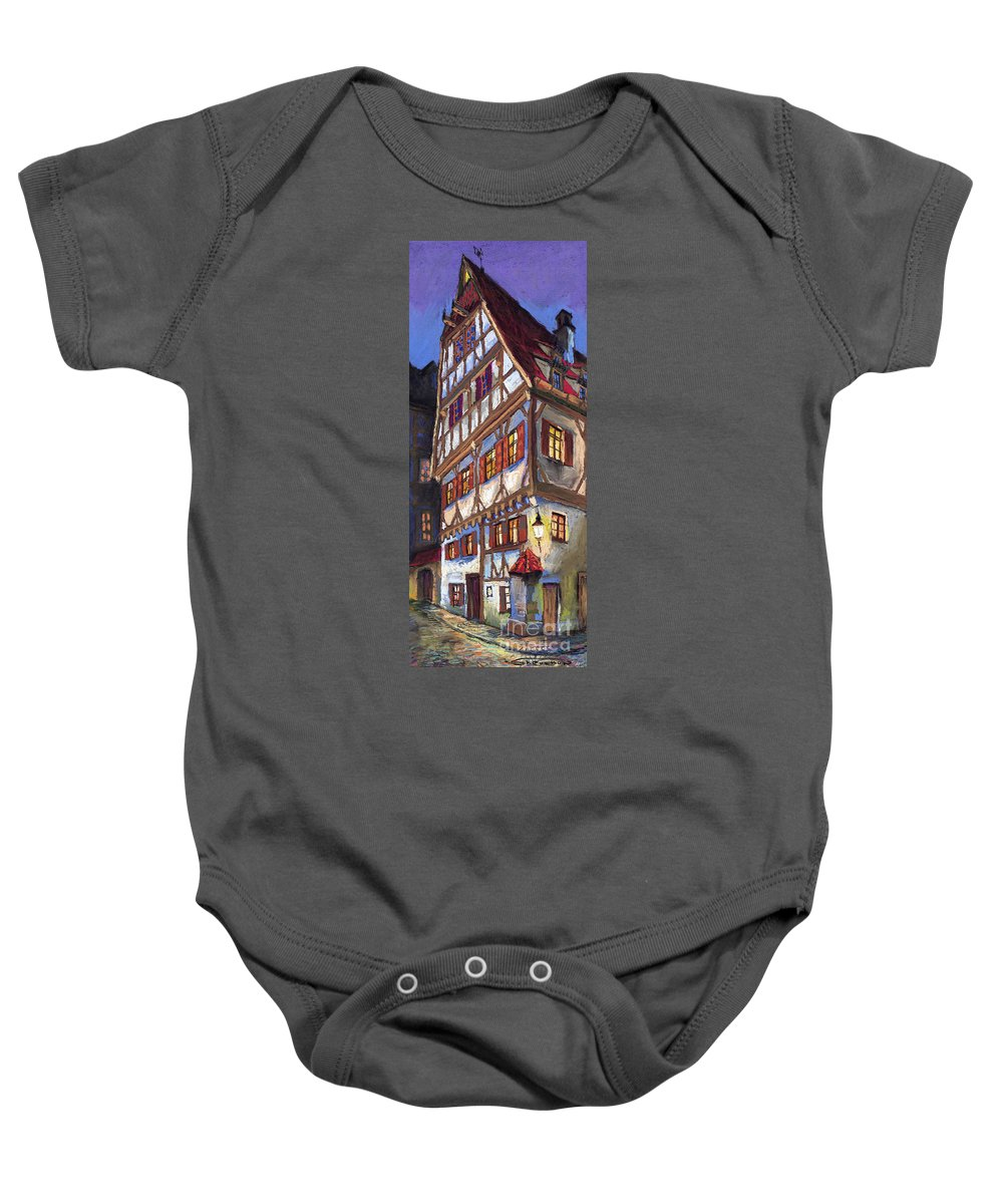 Pastel Baby Onesie featuring the painting Germany Ulm Old Street by Yuriy Shevchuk