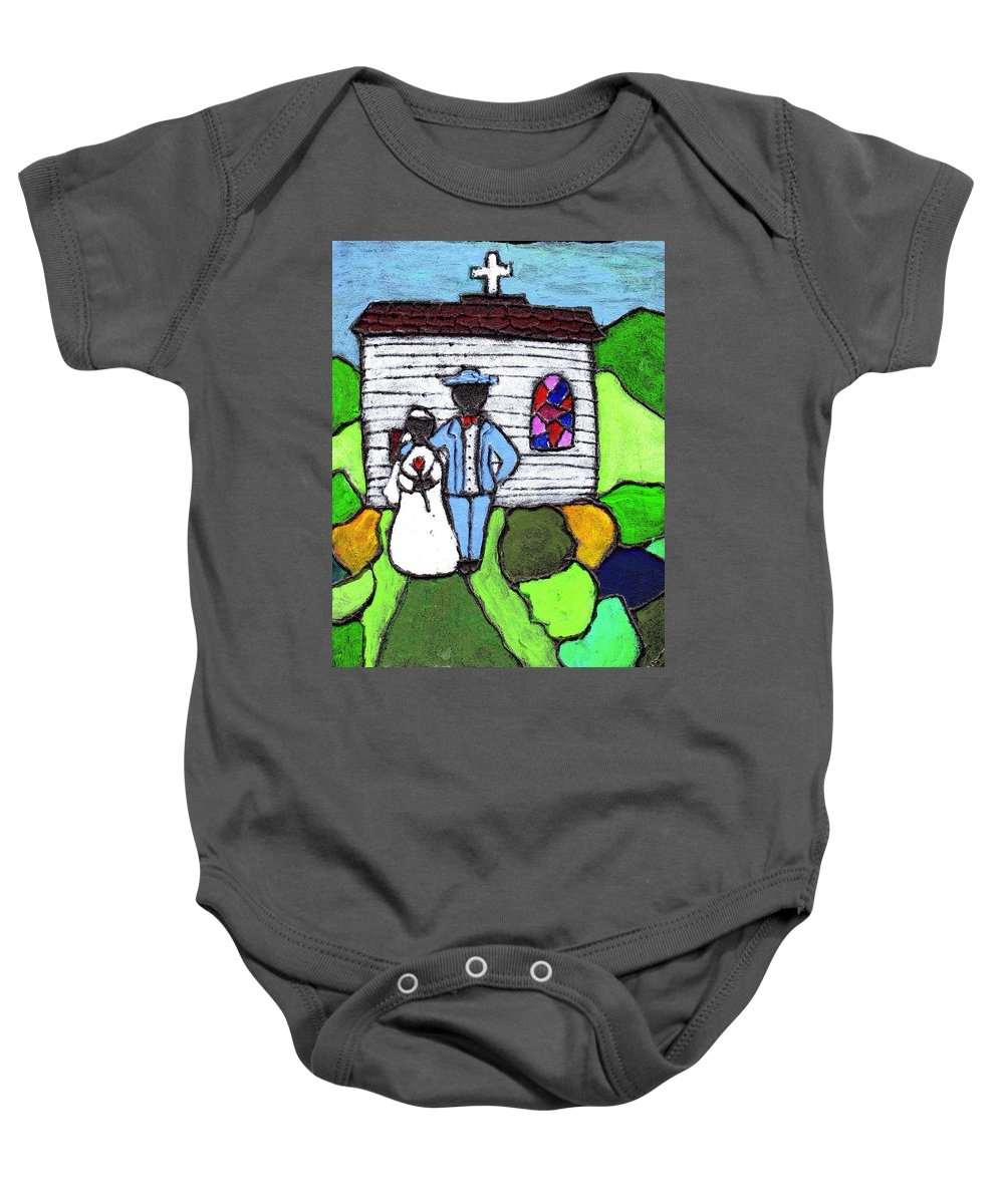 Folk Art Baby Onesie featuring the painting Getting Married Today by Wayne Potrafka
