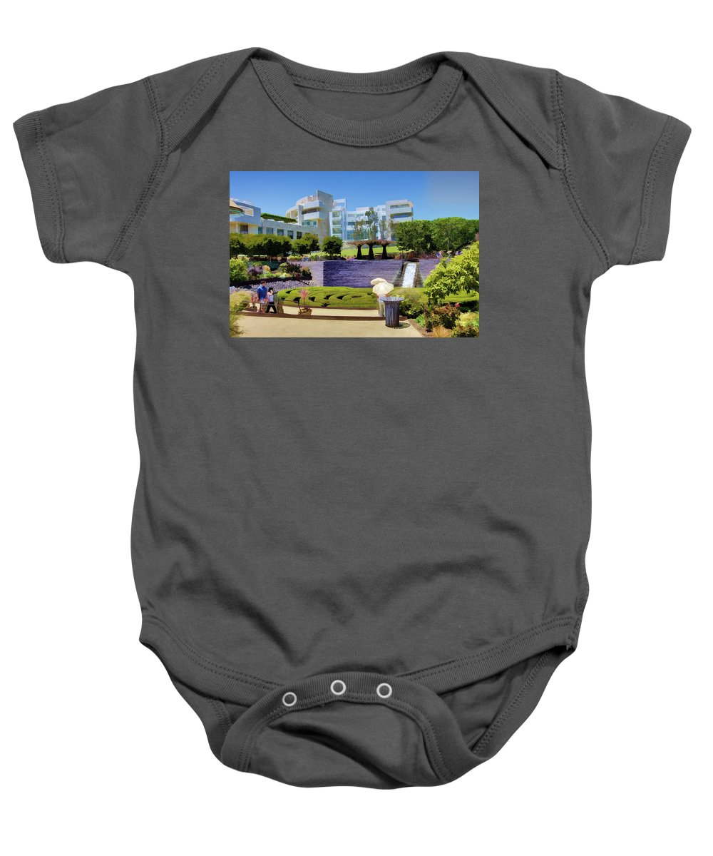 Getty Baby Onesie featuring the photograph Getty Gardens by Ricky Barnard