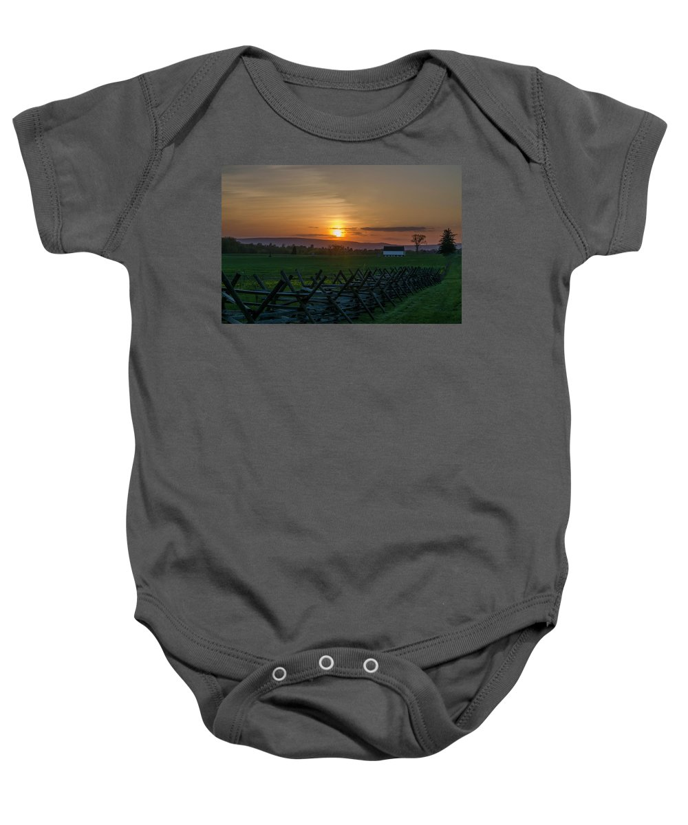 Gettysburg Baby Onesie featuring the photograph Gettysburg At Sunset by Bill Cannon
