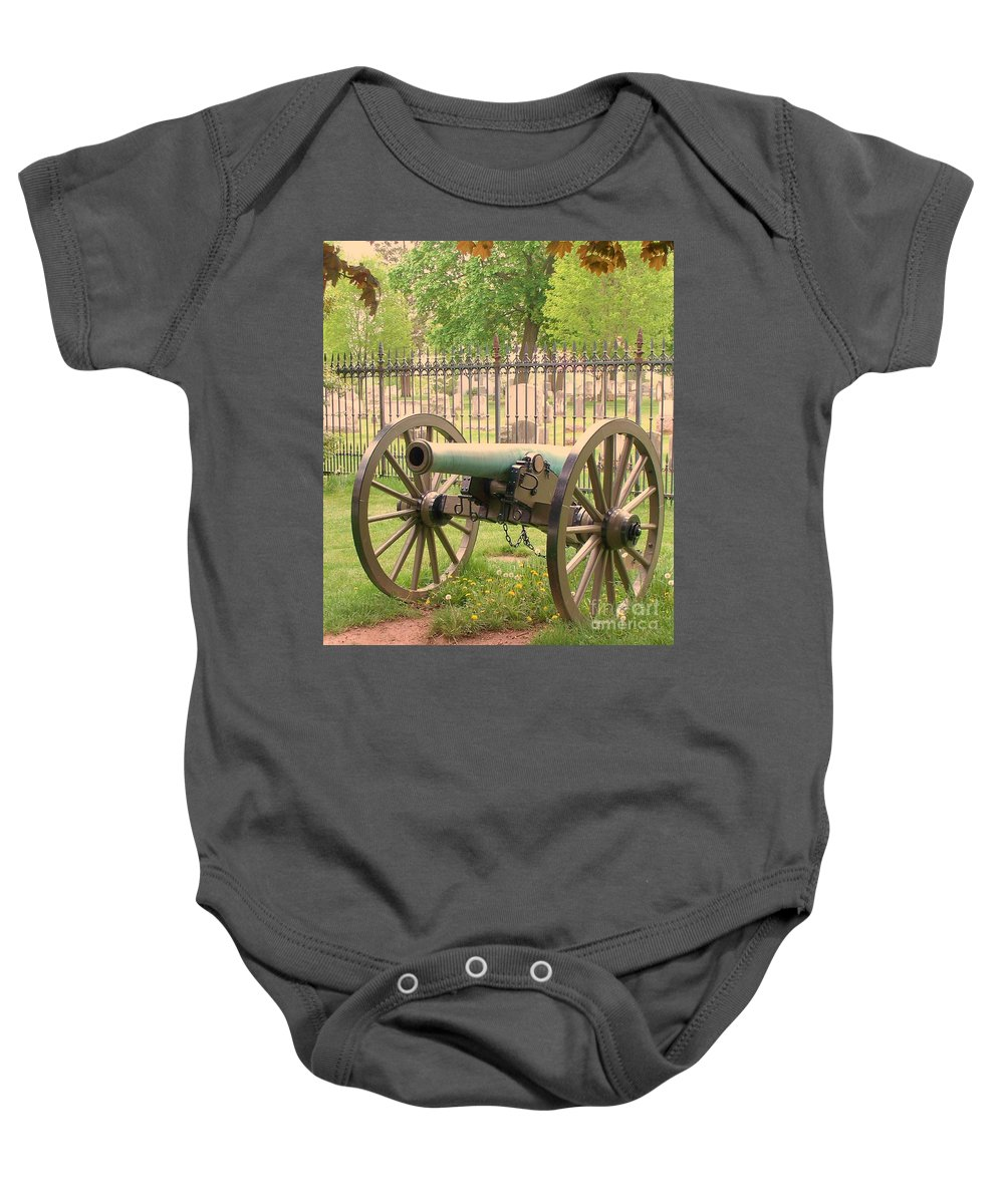 Gettysburgs Baby Onesie featuring the painting Gettysburg Cannon Cemetery Hill by Eric Schiabor