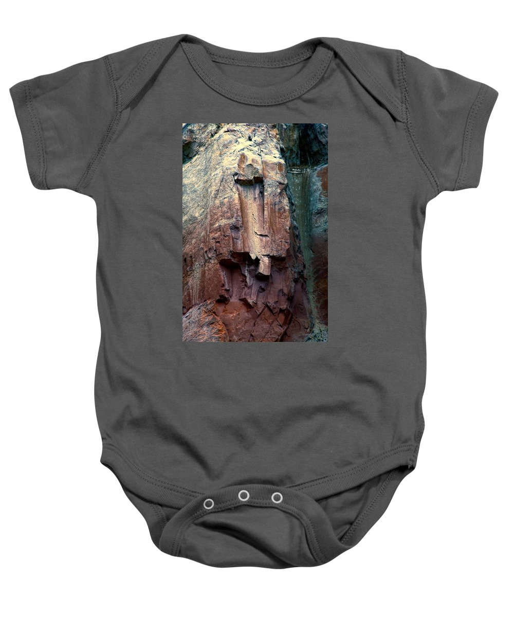 Cliff Baby Onesie featuring the photograph Ghost Cliff Abstract by Jim Buchanan