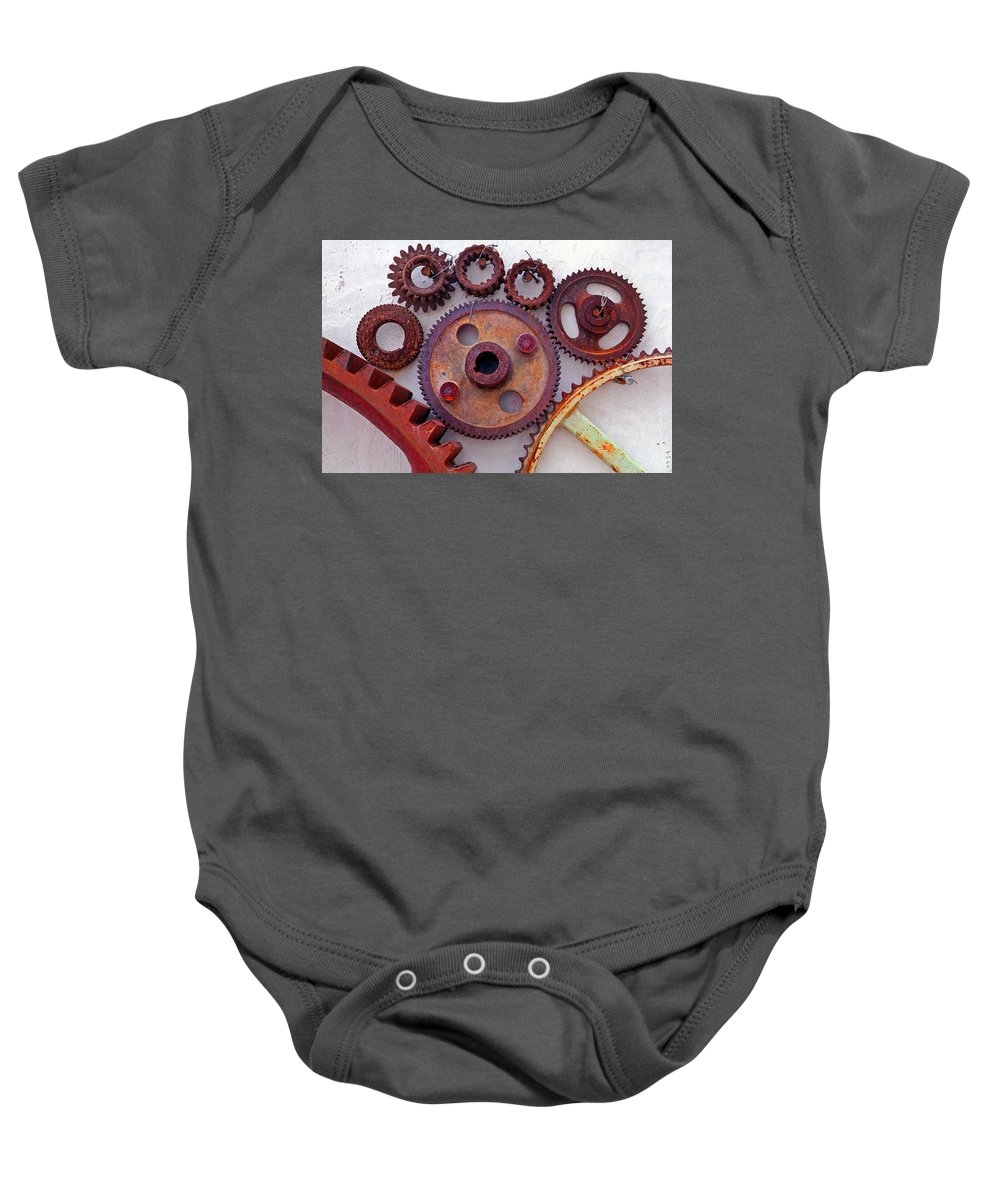 Gears Baby Onesie featuring the photograph Ghost by Skip Hunt