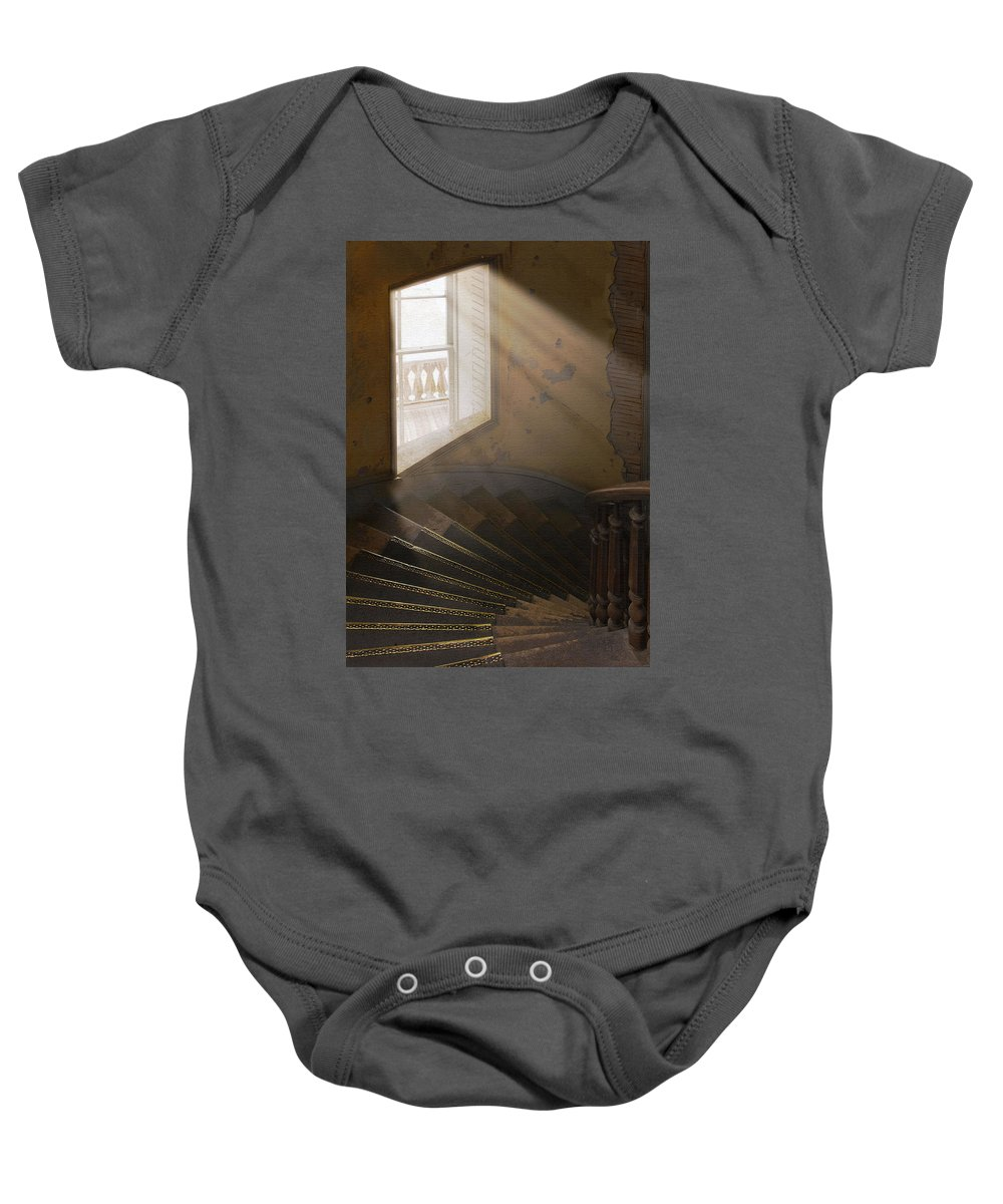 Architecture Baby Onesie featuring the photograph Ghostly Light by Sharon Foster