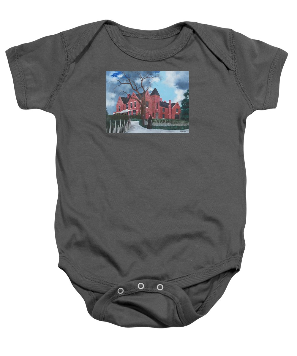 Borley Baby Onesie featuring the painting Ghostly Nun Of Borley Rectory by Barbara Barber