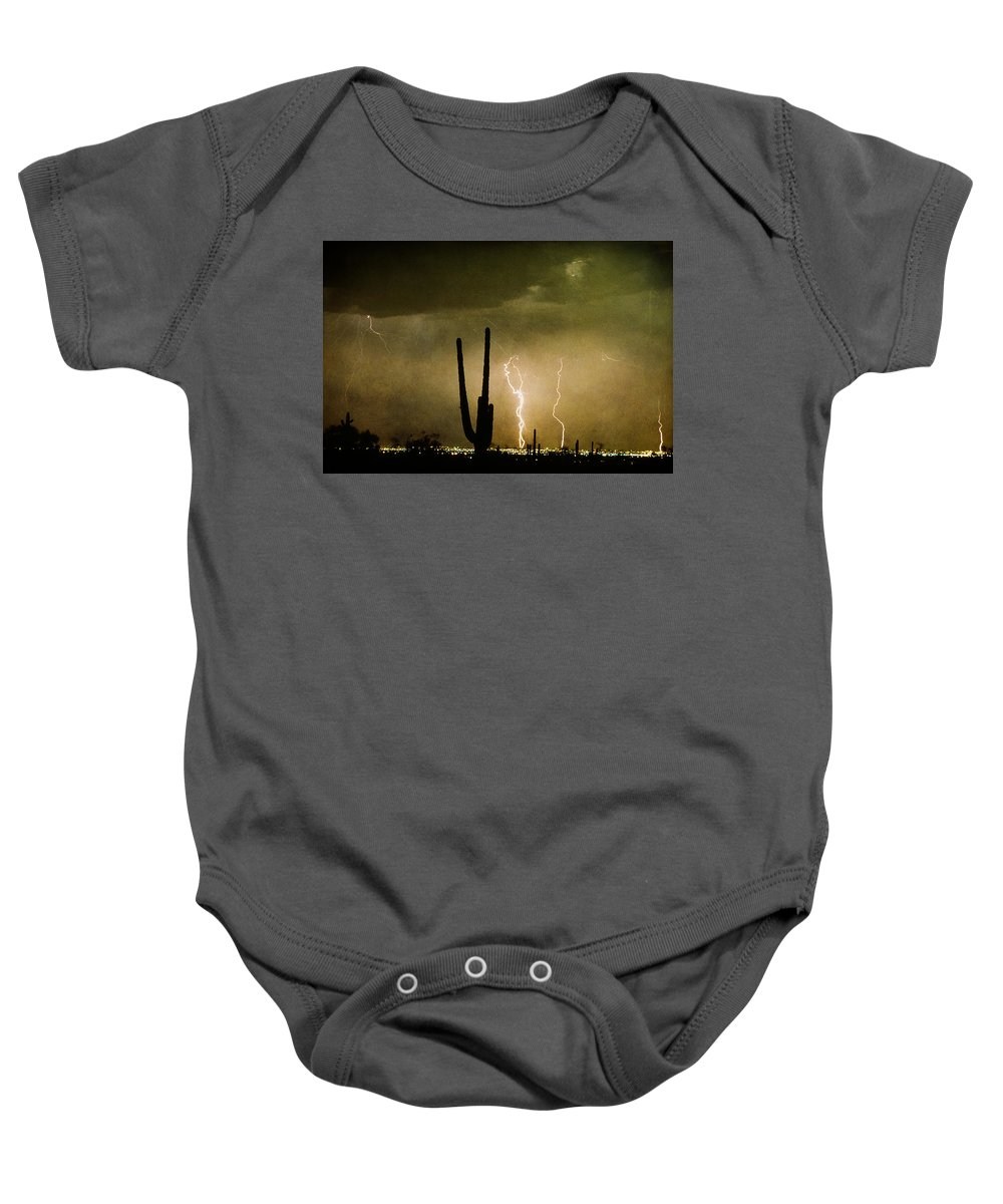 Lightning Baby Onesie featuring the photograph Giant Saguaro Southwest Lightning Peace Out by James BO Insogna