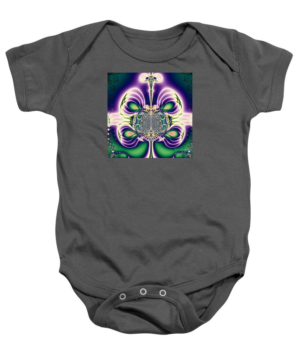Gift Bows Fractal Abstract Baby Onesie featuring the digital art Gift Bows Fractal Abstract by Rose Santuci-Sofranko