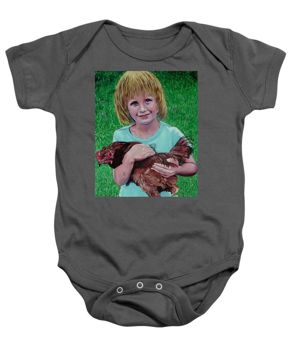 Portrait Baby Onesie featuring the painting Girl And Chicken by Stan Hamilton