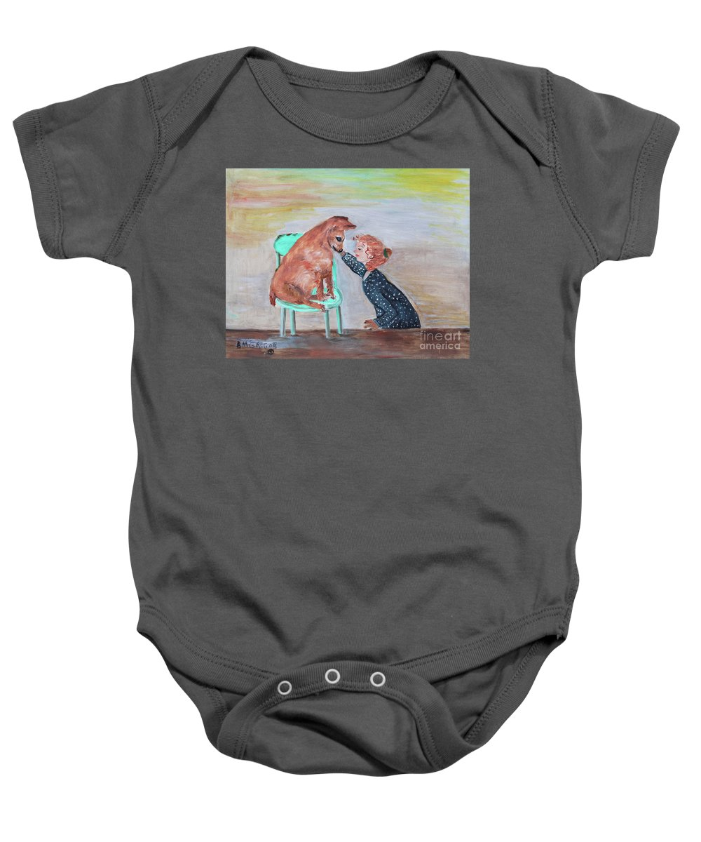 Dog Baby Onesie featuring the painting Girl And Dog by Betty McGregor