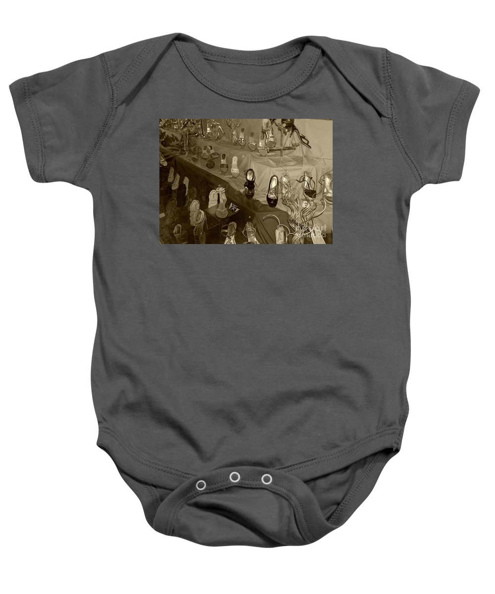 Shoes Baby Onesie featuring the photograph Girl Cant Have Enough Shoes by Debbi Granruth