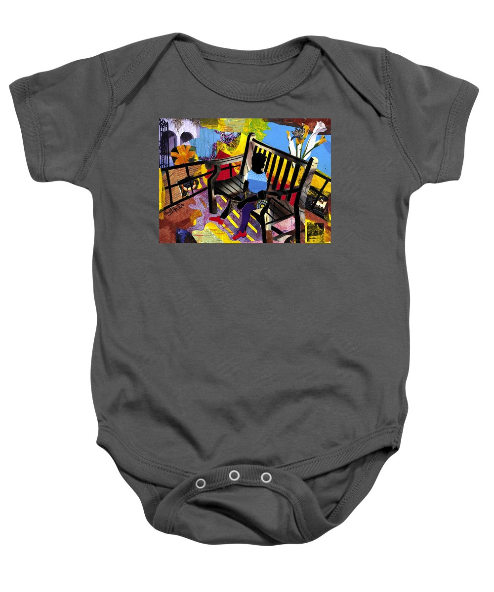 Everett Spruill Baby Onesie featuring the painting Girl In Red Shoes by Everett Spruill