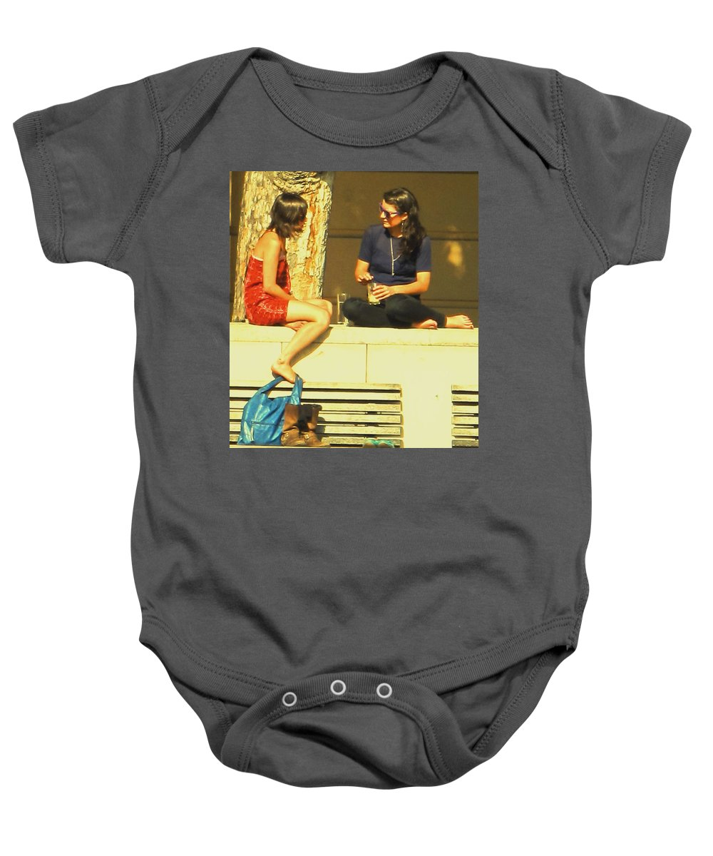 Girl Baby Onesie featuring the photograph Girl Talk by Ian MacDonald