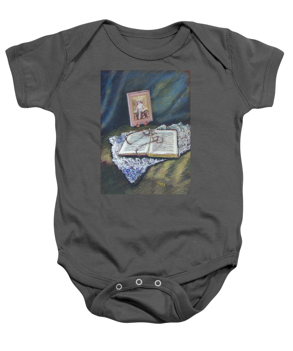 Still Life Baby Onesie featuring the painting Girl With A Book by Laurie Paci