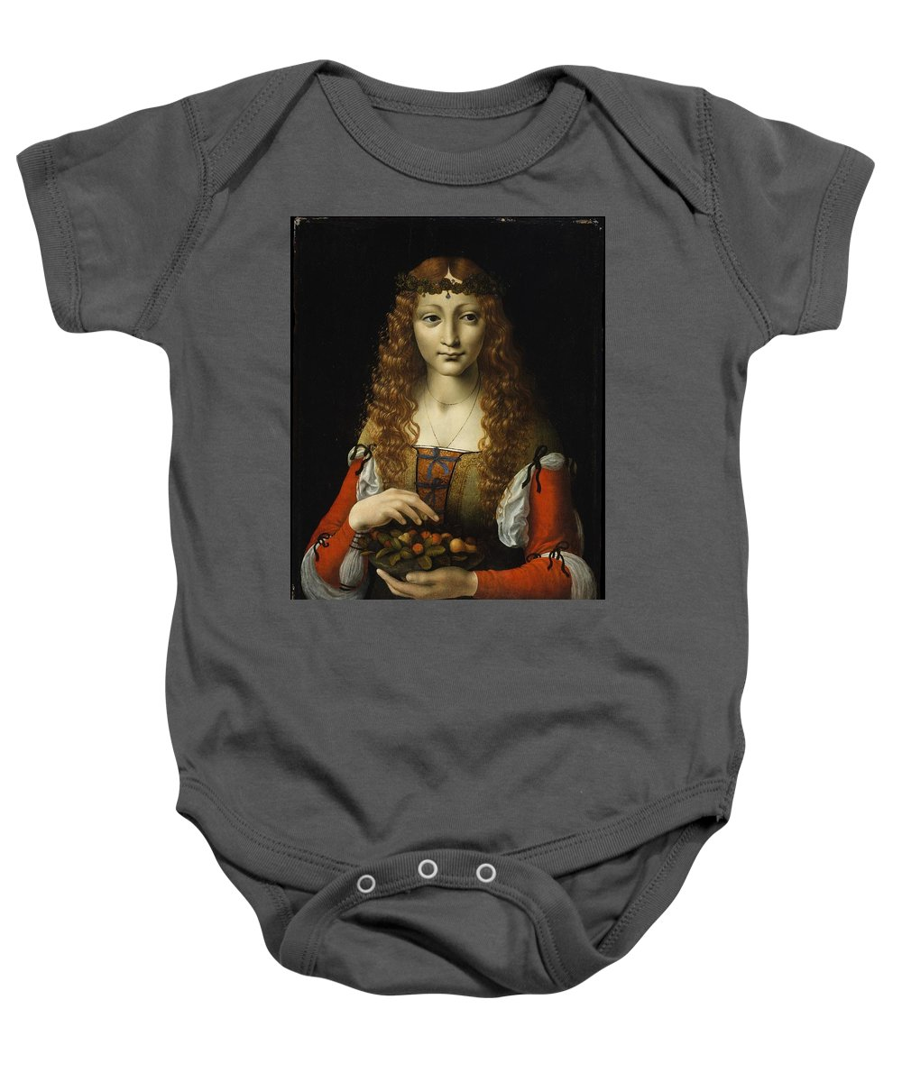 Girl With Cherries Baby Onesie featuring the painting Girl With Cherries by Giovanni Ambrogio de Predis