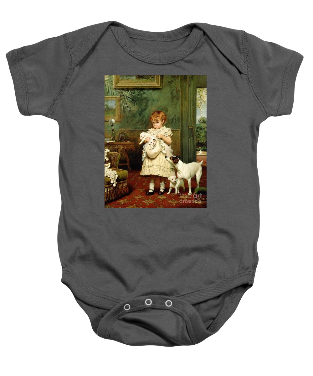 Girl With Dogs Baby Onesie featuring the painting Girl With Dogs by Charles Burton Barber