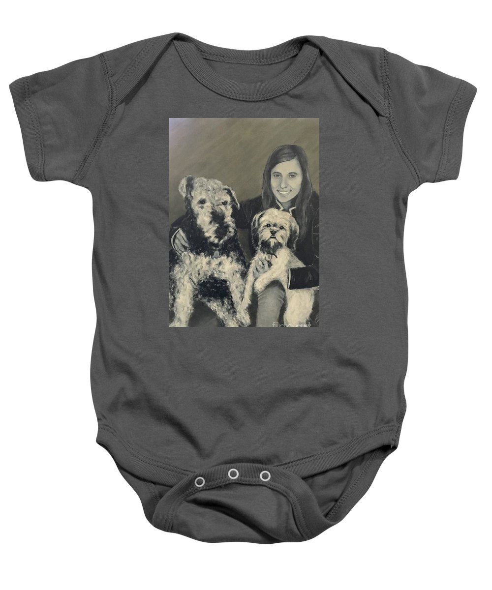 Pets Baby Onesie featuring the painting Girl With Dogs In Black And White by Diane Donati