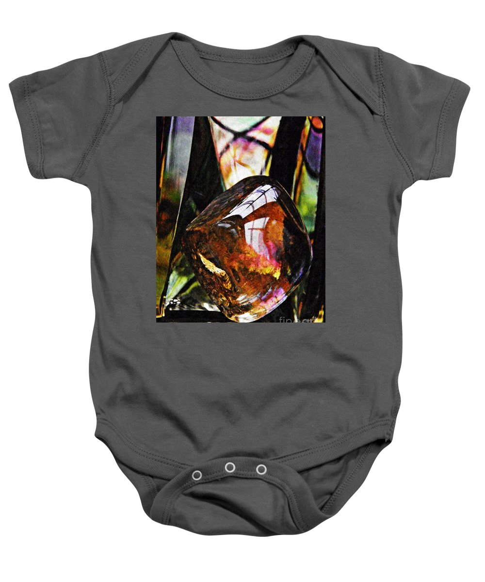 Abstract Baby Onesie featuring the photograph Glass Abstract 315 by Sarah Loft
