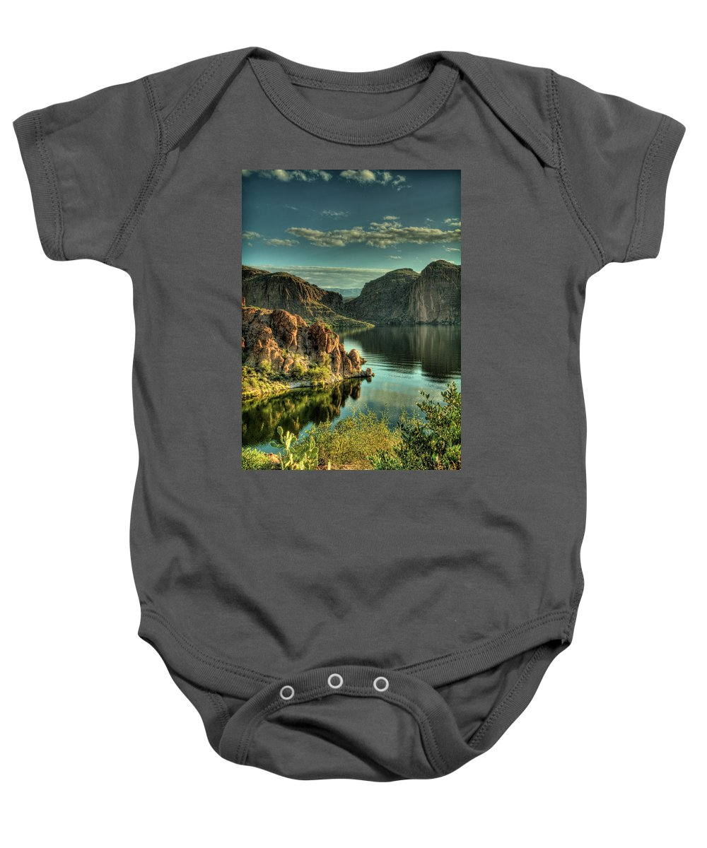 Arizona Baby Onesie featuring the photograph Glass Lake by Saija Lehtonen