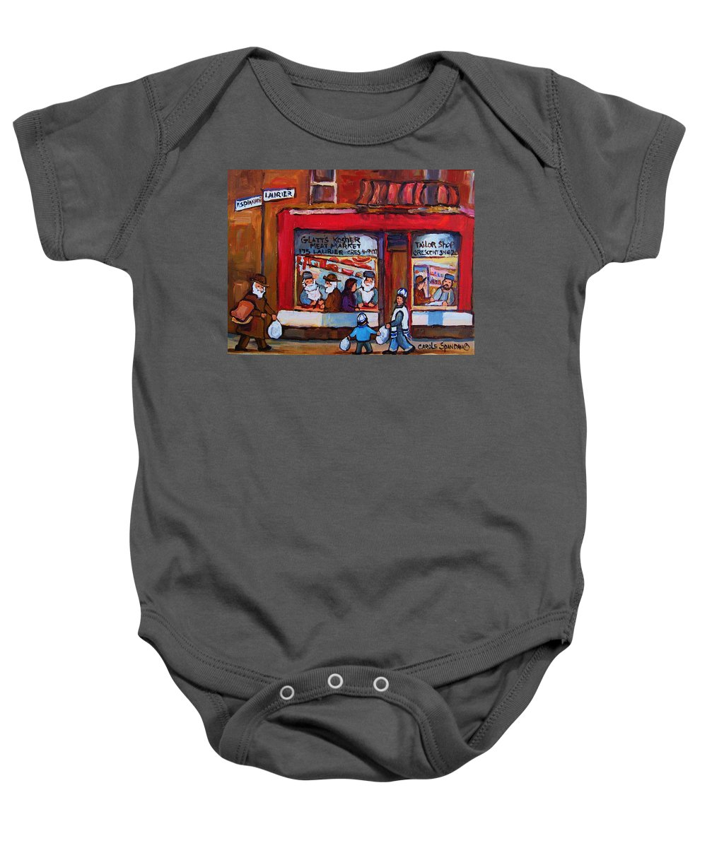 Montreal Street Scene Baby Onesie featuring the painting Glatts Kosher Meatmarket And Tailor Shop by Carole Spandau