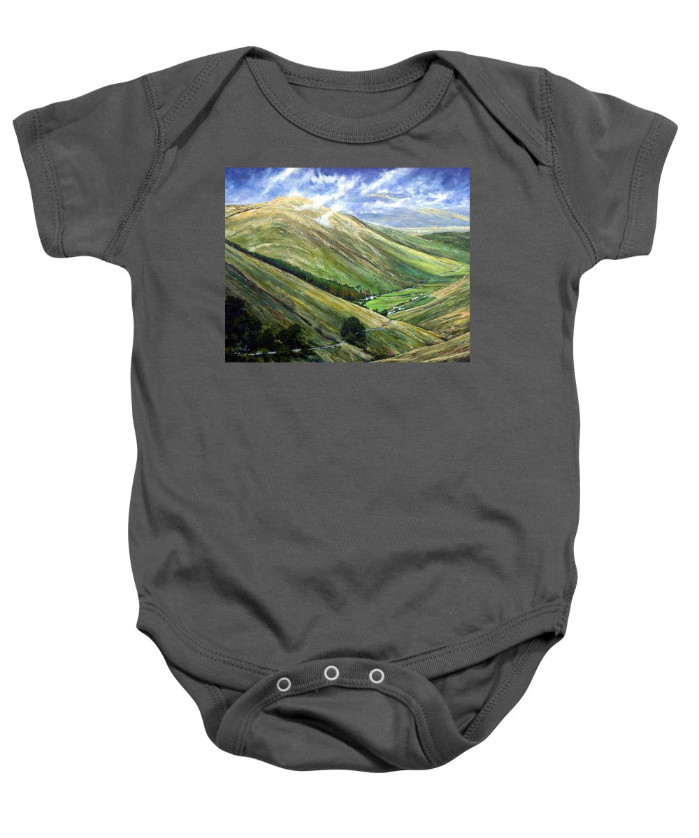 Landscapes Baby Onesie featuring the painting Glen Gesh Ireland by Jim Gola