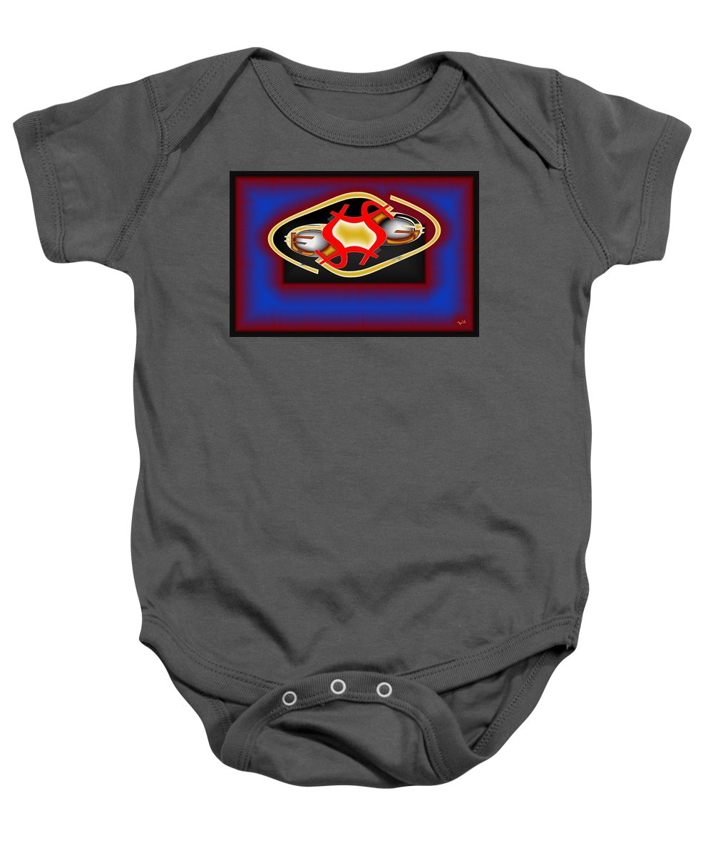 Dollar Baby Onesie featuring the digital art Global Dancing Round The Golden Calf by Helmut Rottler