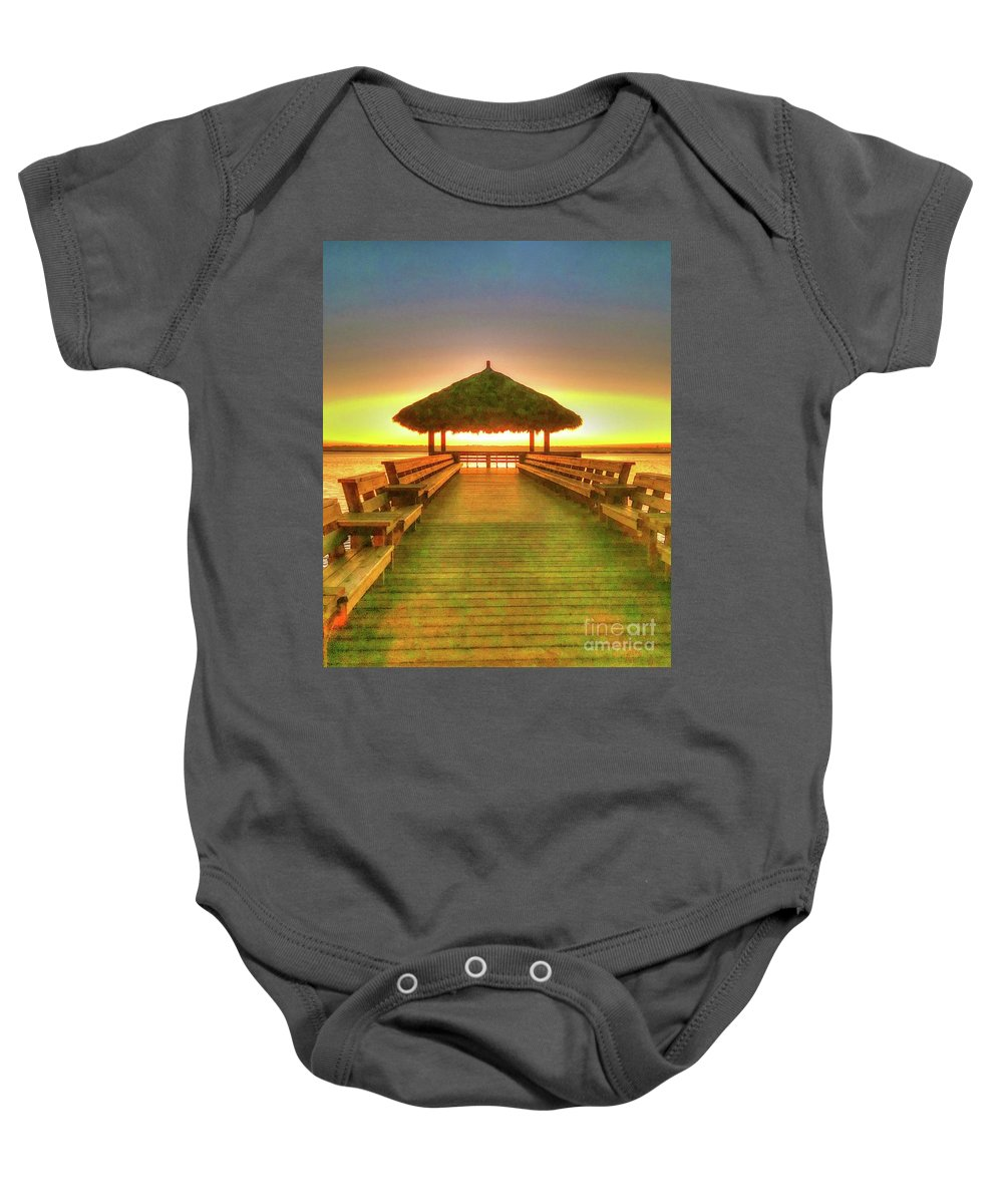 Sunset Baby Onesie featuring the photograph Glow by Debbi Granruth
