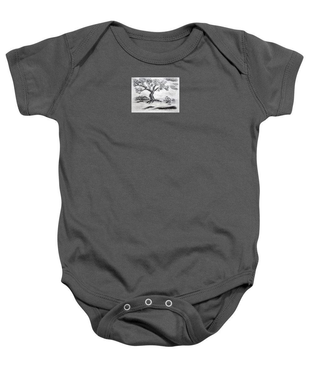Tree Baby Onesie featuring the drawing Gnarly Oak by J R Seymour