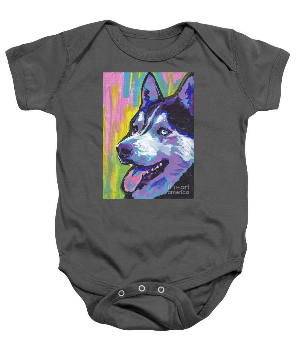 Siberian Husky Baby Onesie featuring the painting Go Husky by Lea S