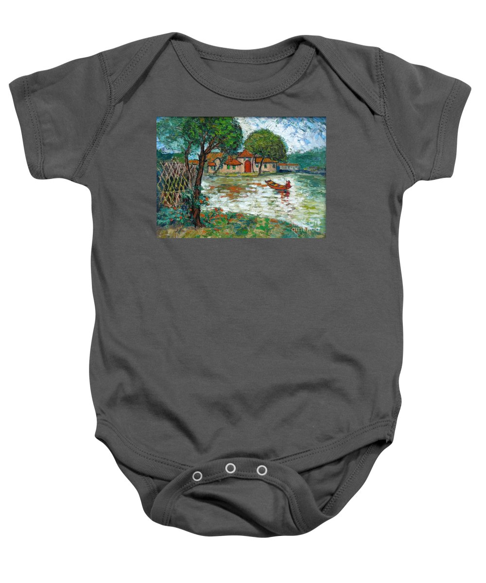 Boat Baby Onesie featuring the painting Going Home by Meihua Lu