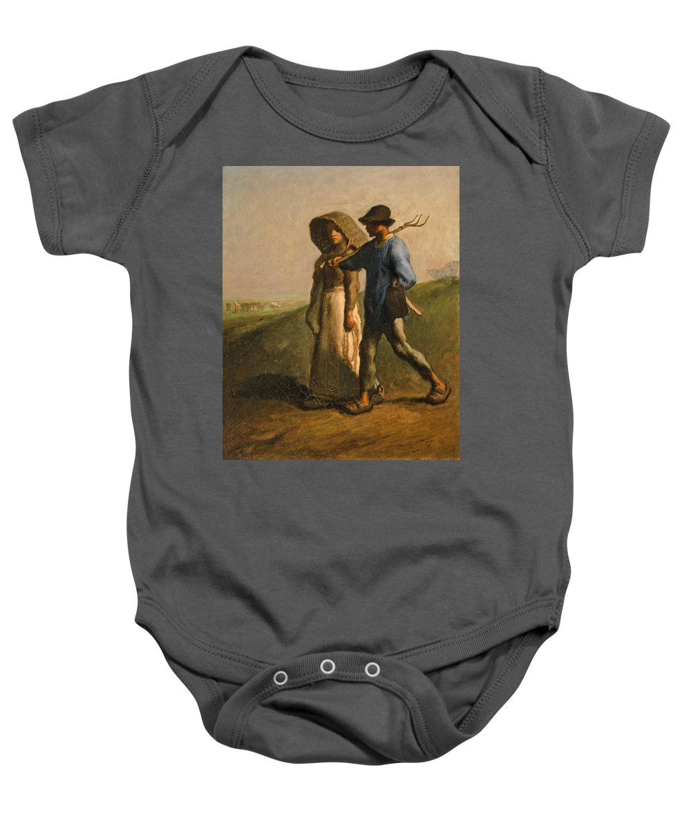Jean Francois Millet Baby Onesie featuring the painting Going To Work by Jean Francois Millet