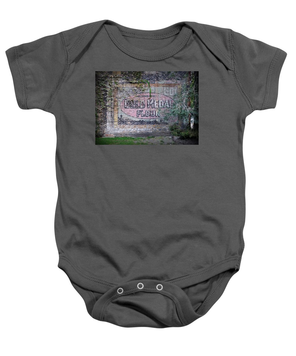 Gold Medal Flour Baby Onesie featuring the photograph Gold Medal Flour by Tim Nyberg