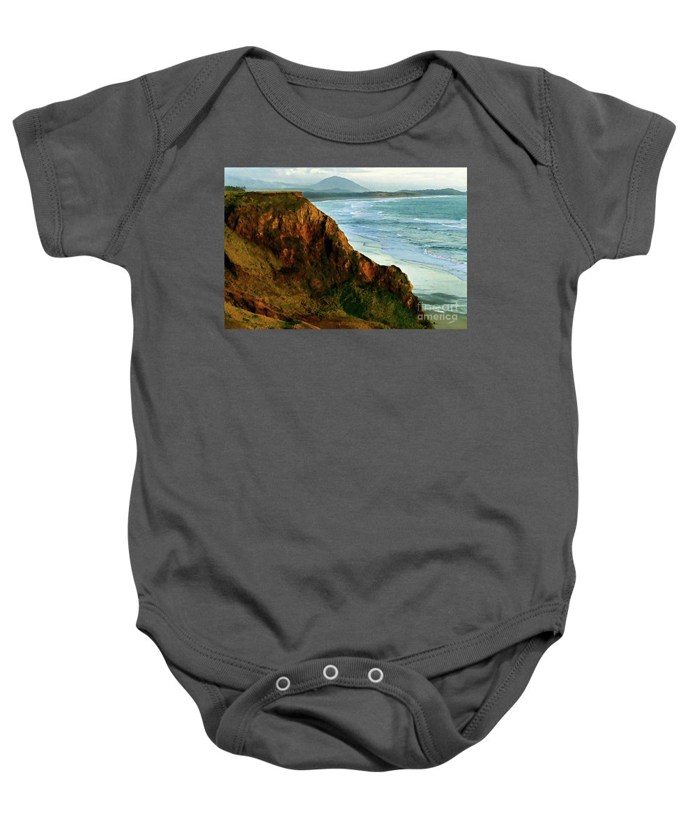 Gold Beach Baby Onesie featuring the painting Golden Beach Cliff Side Painterly by Peter Piatt