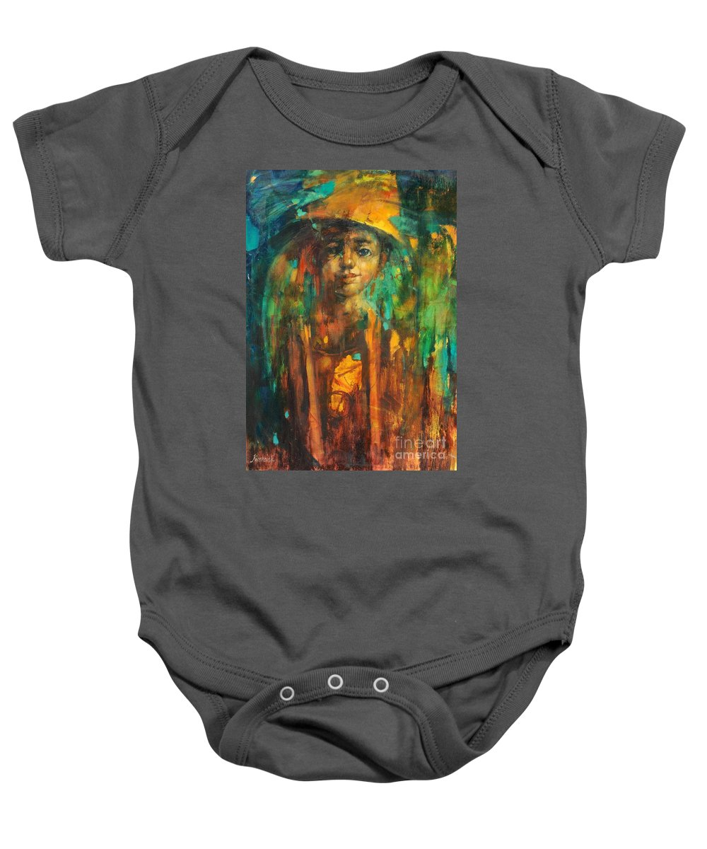Golden Boy Baby Onesie featuring the painting Golden Boy by Michal Kwarciak