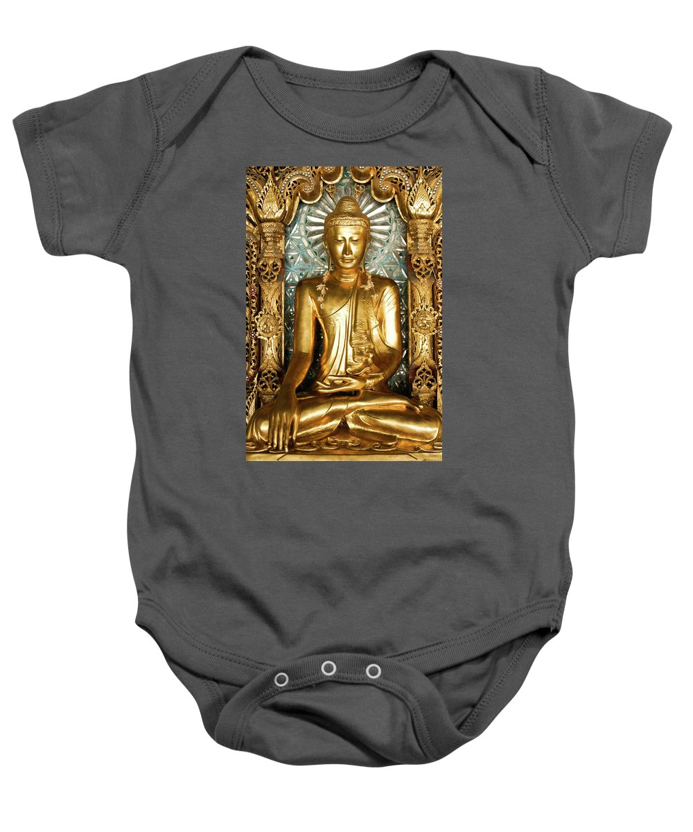 Asia Baby Onesie featuring the photograph Golden Buddha by Michele Burgess