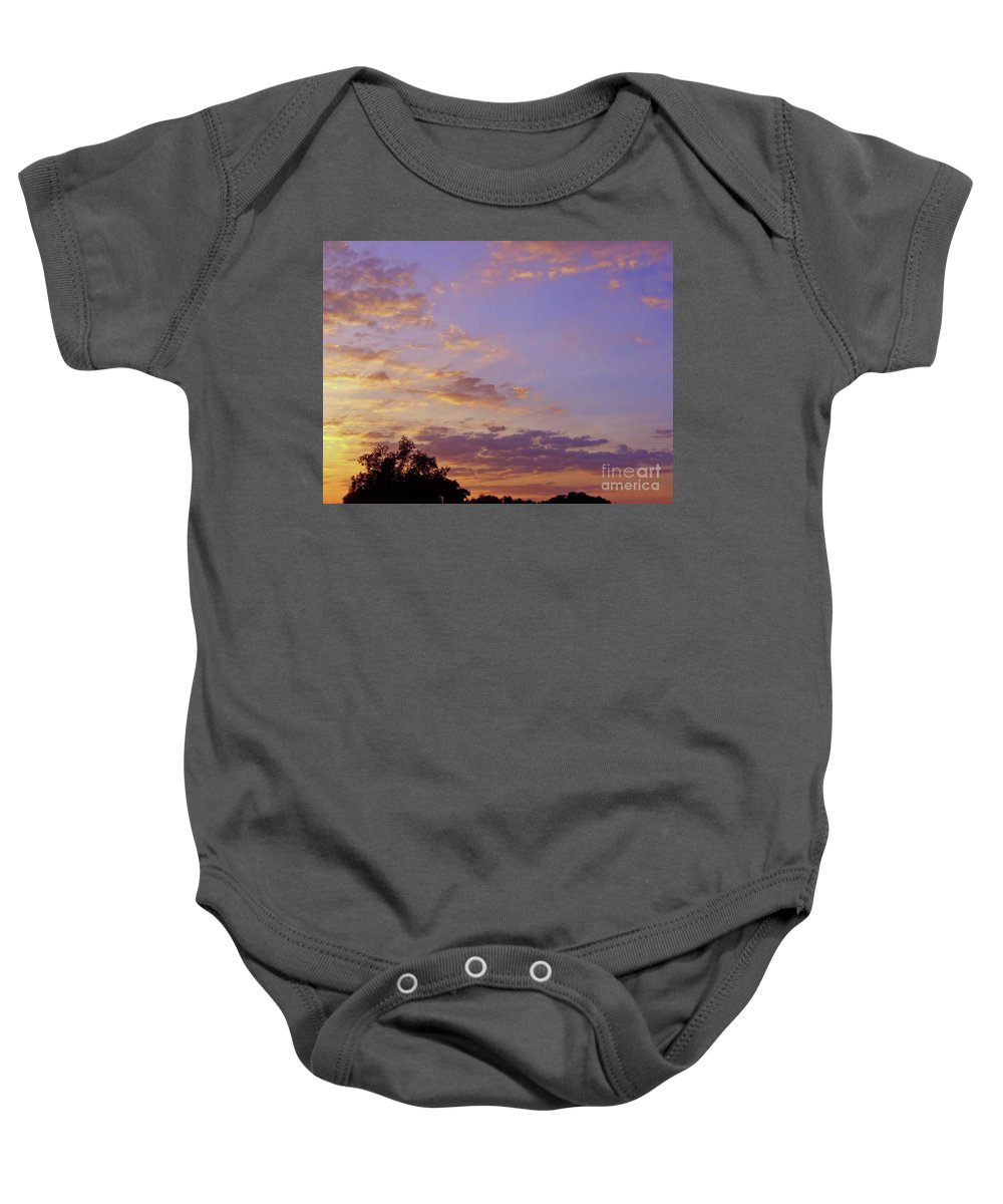 Sunset Baby Onesie featuring the photograph Golden Clouds At Sunset by D Hackett