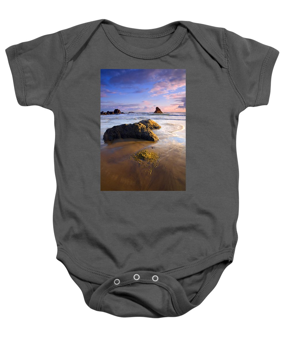 Beach Baby Onesie featuring the photograph Golden Coast by Mike Dawson