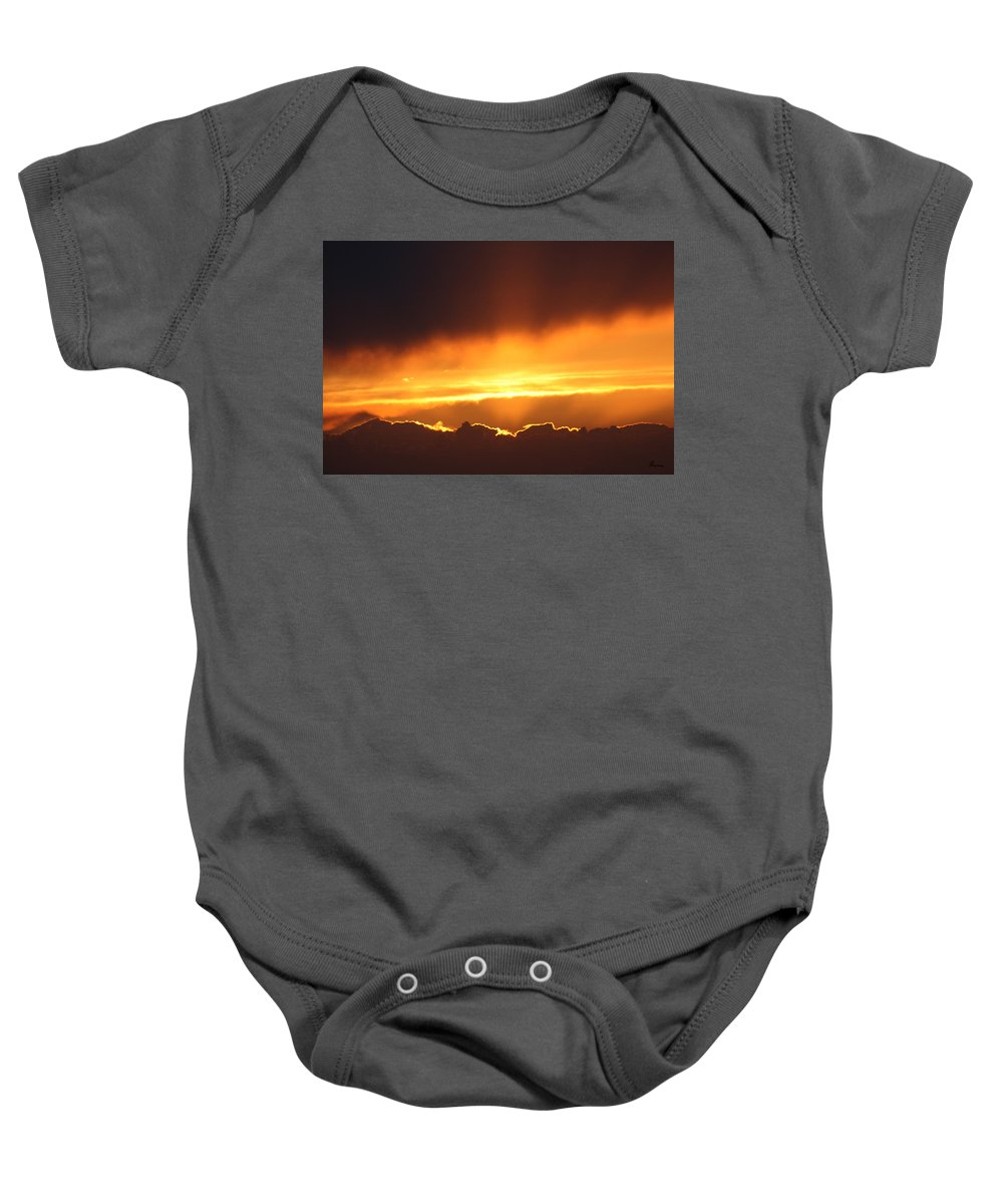 Clouds Gold Sunset Sky Natural Sun Warmth Beauty Mother Nature Yellow Light Beaming Baby Onesie featuring the photograph Golden Crested Clouds by Andrea Lawrence