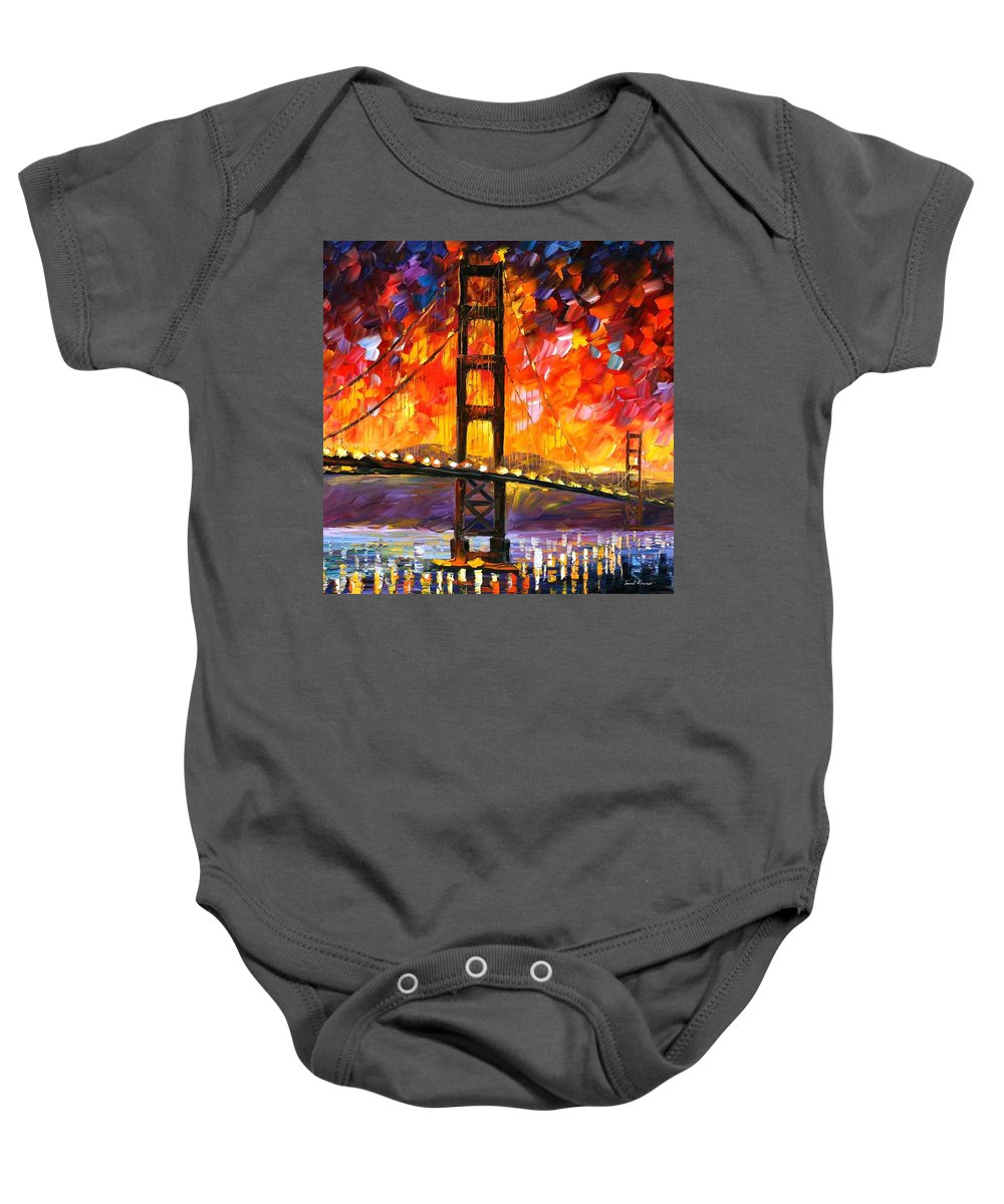 City Baby Onesie featuring the painting Golden Gate Bridge by Leonid Afremov