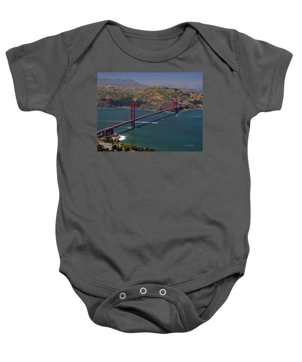 Golden Gate Bridge Baby Onesie featuring the photograph Golden Gate by Donna Blackhall