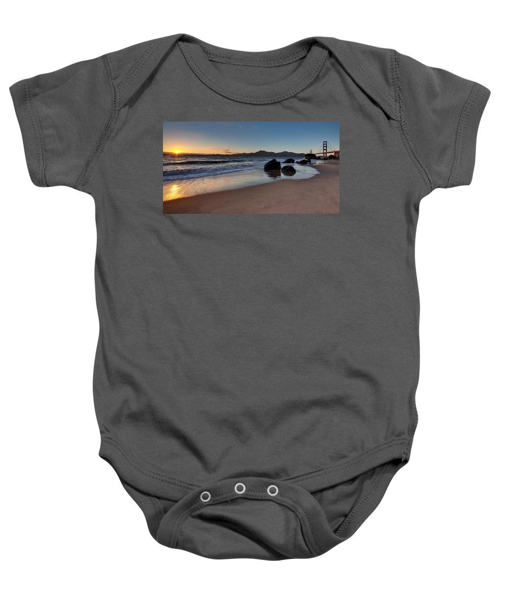 Golden Gate Baby Onesie featuring the photograph Golden Gate Sunset by Mike Reid